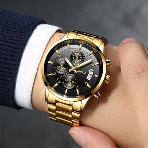 Gold Men Sport Style Quartz waterproof Watch